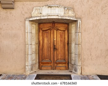 Old wooden door in the center of the old town in Riga, Latvia