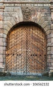 old wooden door in the city gate