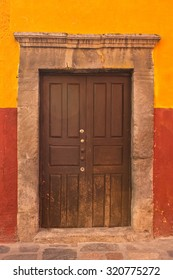 Old Wooden Door Entry in San Miguel de Allende Mexico