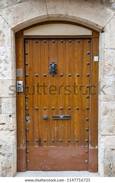The old wooden door in France.