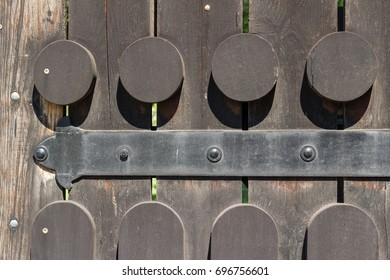 Old wooden door, gate close-up view, abstract background.