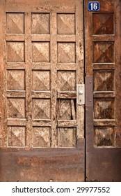 Old wooden door in an old German town