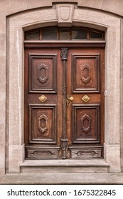 Old wooden door of an old historical building