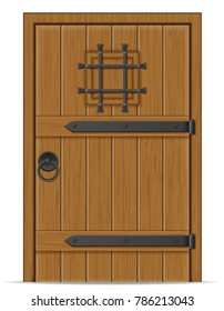 old wooden door illustration isolated on white background