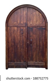 old wooden door isolated with clipping path