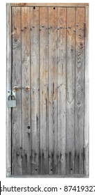 Old wooden door isolated on white background
