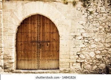 Old wooden door from medieval era.