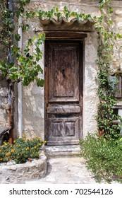 Old Wooden Door in the Medieval Town of Saint-Paul-de-Vence, France