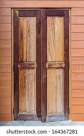 Old Wooden Door on Wooden Wall