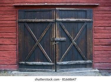 Old wooden door with padlock