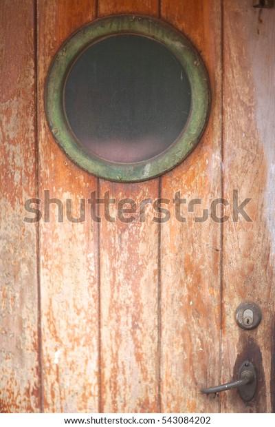 Old Wooden Door Porthole On Abandoned Stock Photo Edit Now 543084202