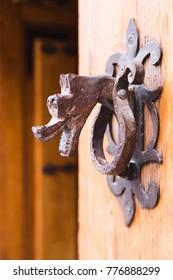 An old wooden door in Segovia (Spain)