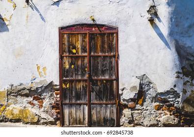Old wooden door in Sibiu, Romania