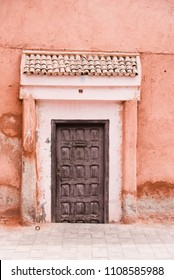 Old Wooden Door and Terracotta Pink Stone Wall, Marrakech, Morocco