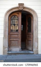 Old wooden door in Upper Town of Zagreb, Croatia