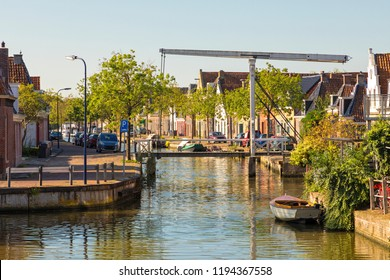 Old wooden drawbridge over canal at the village of Franeker, The Netherlands