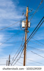 An old wooden elecric pylon with lot of electric wires and cables, Williams, Arizona.