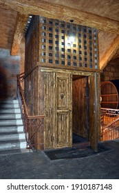 Old wooden elevator on Noy factory in Yerevan  at spring 2018