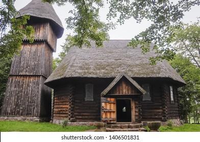 Old wooden evangelic church from Masuria region in heritage park in Olsztynek town of Olsztyn County in Warmia-Mazury Province, Poland