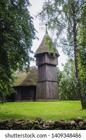 Old wooden evangelic church from Masuria region in heritage park in Olsztynek town of Olsztyn County in Warmia-Mazury Province, Poland