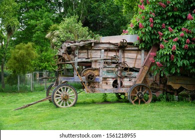 Old wooden farmyard machinery in Christchurch, New Zealand.