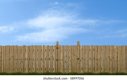 old wooden fence with gate on sky background - rendering