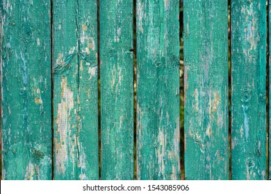 old wooden fence light green paint peeling board texture. Background.