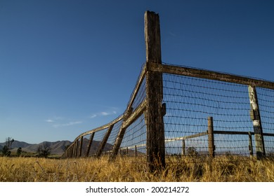 The old wooden fence line in the California landscape.