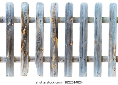Old wooden fence with prominent knots and cutout background