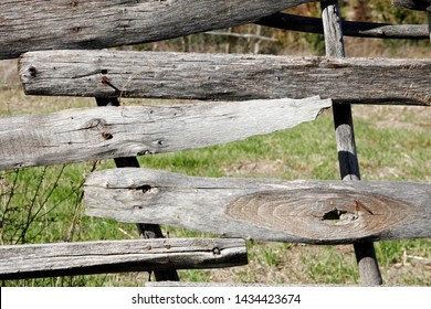 old wooden fence in rural area