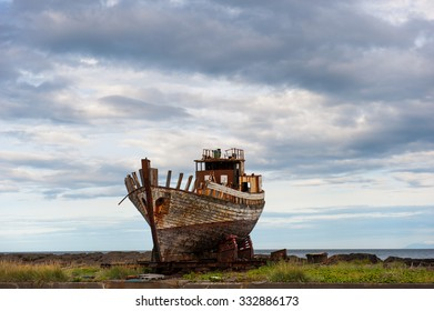 Old wooden fishing boat, Akranes, Iceland