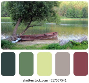 old wooden fishing boat, background summer colour palette with color swatch