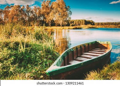 Old Wooden Fishing Boat In River.  Rowboat, Belarusian Nature