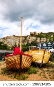 Old, Wooden Fishing Boats on the Shore at Hastings, England