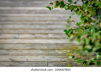 Old wooden floor of pier with free space for your content. Traditinal building material in Norway, Scandinavia, Europe.