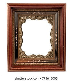 Old wooden frame with antique daguerreotype gold metal insert