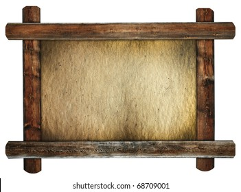 old wooden frame with dirty paper, retro message board