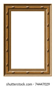 Old wooden frame isolated on white, with clipping paths
