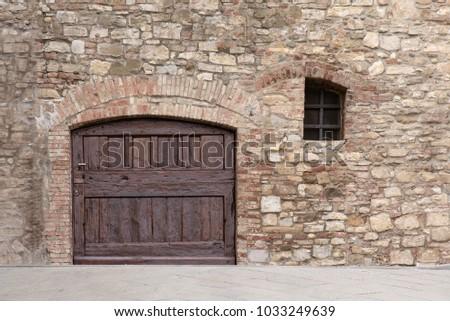 Old Wooden Garage Door Medieval Stone Stock Photo Edit Now