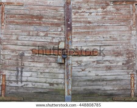 Old Wooden Garage Doors Background Stock Photo Edit Now 448808785