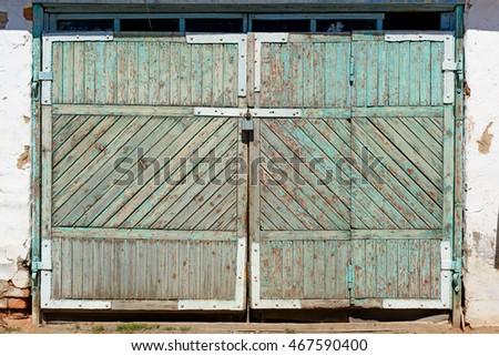 Old Wooden Garage Doors Padlocks Stock Photo Edit Now 467590400