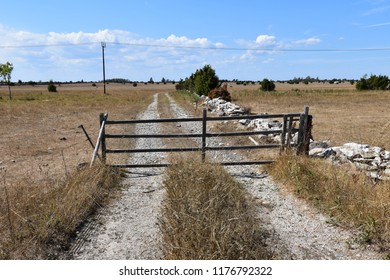 Old wooden gate by a gravel road into a dry grassland at the swedish island Oland