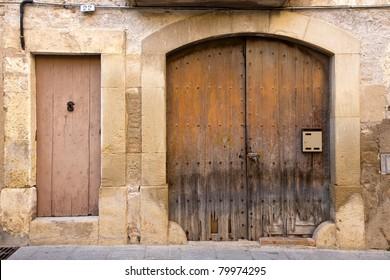 old wooden gate and door