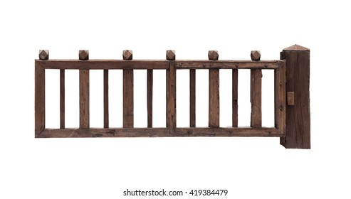 Old wooden gate on white background.