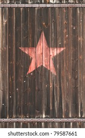 old wooden gate with soviet star