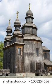 Old wooden George's Church in Sedniv, Chernihiv region, Ukraine
