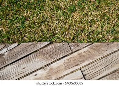 Old wooden and green grass background