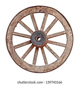 Old wooden grunge wagon wheel isolated on white background
