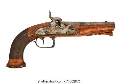 an old wooden gun powder