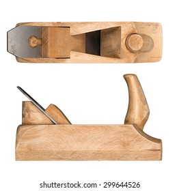 Old wooden hand plane for woodworking. Side and top view.